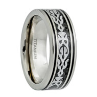 Titanium Tribal Design Inlay Center Wedding Band Ring