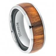 Titanium Ring High Polished Domed with Santos Rosewood Inlay