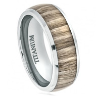 Titanium Ring High Polished Domed with Ashen Zebra Rosewood