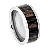 Titanium Ring Pipe Cut with African Blackwood Inlay