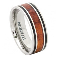 Titatnium Ring Flat with Hawaiian Koa Rosewood Inlay