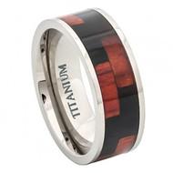 Titanium Ring with Blakwood & Hawaiian Koa Rosewood Z Pattern