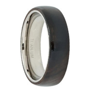 "Titanium Ring High Polished Domed with ""Dark Wooden Inlay Center"""