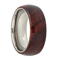 Titanium Ring Polished Pipe Cut Dark Red Wooden Inlay Center