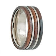 Titanium Ring High Polished 3 Layer Red Wooden Inlay Center