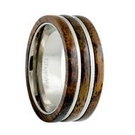 Titanium Ring High Polished 3 Layer Dark Wooden Inlay Center