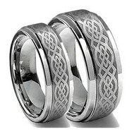 His & Hers Tungsten Laser Ring Set