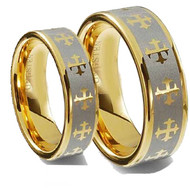 His & Hers Tungsten Rings Set gold plated