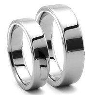 His & Hers Tungsten Polished Ring Set