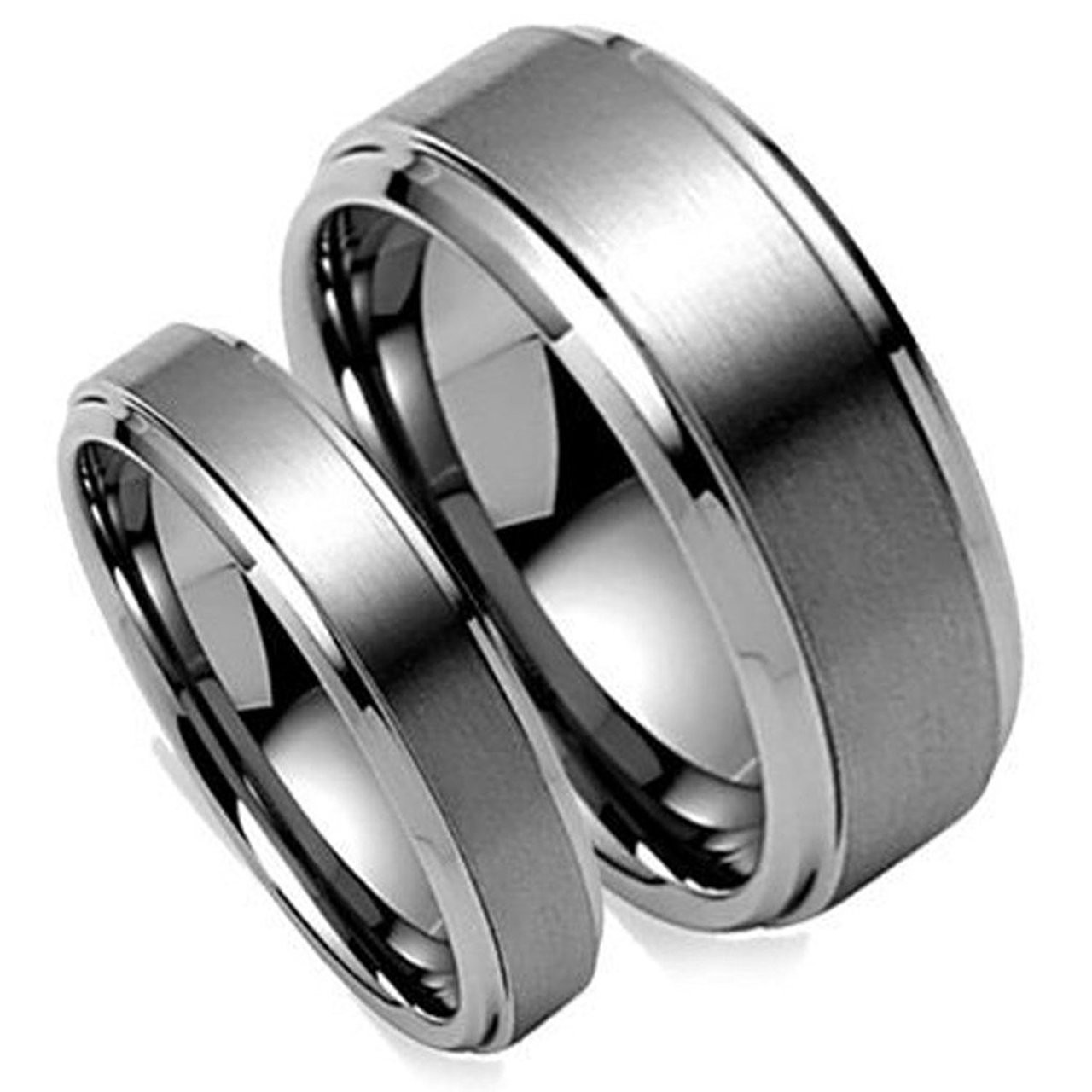 This is a picture of His & Hers Polish Tungsten Ring Set