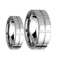 His & Hers Tungsten Scratch Resistant Rings Set
