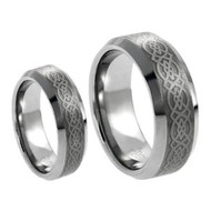 His & Hers Laser Tungsten Ring Set