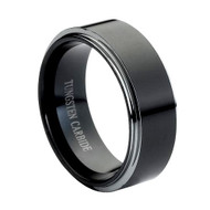 Tungsten Ring Black High Polished curved top black tungsten carbide