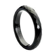 Black Faceted High Polished Tungsten Ring