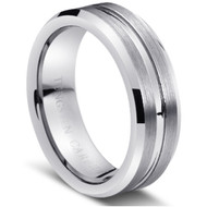 Tungsten Center Brushed Ring Carbide Shiny Grooved