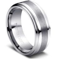 Tungsten Brushed Ring Brushed Center High Polish