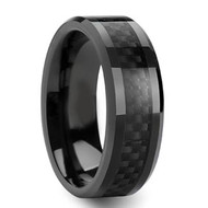 Black Ceramic Ring Black Carbon Fiber Inlay