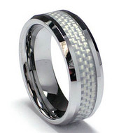 """Tungsten Ring With """"Silver Carbon Fiber Inlay"""""""