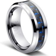 """Tungsten Ring With""""Blue Carbon Fiber Inlay"""""""