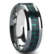 "Tungsten Ring With ""Green Carbon Fiber Inlay"""