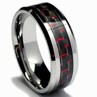 Tungsten Ring With Red Carbon Fiber Inlay