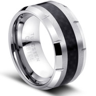 "Tungsten Ring "" Carbon fiber Inlay High Polished"""