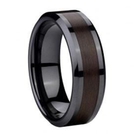 8mm Dome White Ceramic Ring Black Carbon Fiber Center Inlay Anniversary Band