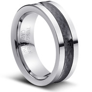 """Tungsten Ring With"""" Black Carbon Fiber Inlay"""""""