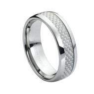 """Tungsten Ring With """"Silver Carbon"""" Fiber Inlay"""