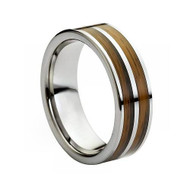 Tungsten Ring With Double Sided Wooden Inlay