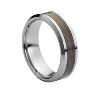 Tungsten Ring With Wooden Center Inlay