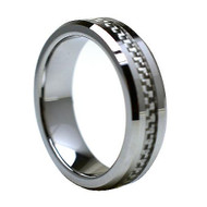 Tungsten Ring With Silver Carbon Fiber Inlay
