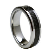 """Tungsten Ring With"""" Black Carbon Fiber Inlay """""""