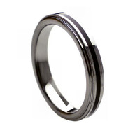 Tungsten Ring With Rubber Center Inlay