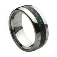 """Tungsten Ring With """"Green Carbon"""" Fiber Inlay"""