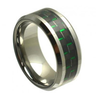 Tungsten Ring With Black & Green Carbon Fiber Inlay