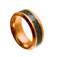 Tungsten Rose Plated Gold Ring With Black Carbon Fiber Inlay