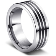 "Tungsten Ring "" Black Inlay"""