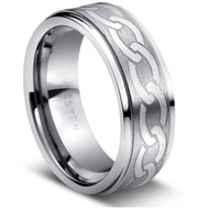 LASER ENGRAVED CHAIN TUNGSTEN RING