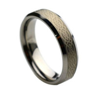 Laser Engraved Celtic Tungsten Rings