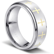 "TUNGSTEN CROSS RING "" MATTE & HIGH POLISHED"""