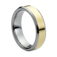 "Tungsten Ring "" High Polished "" Shiny Gold Plated Center"