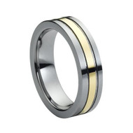 Gold Grooved Tungsten Ring