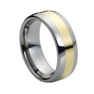 "Tungsten Ring Carbide Gold "" High Polished """