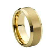 Gold Brushed Beveled Edge Tungsten Ring