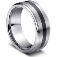 "Tungsten Ring Sleek "" High Polish & Matt Finish """