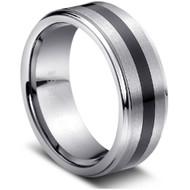 """Tungsten Ring Sleek """" High Polish & Matt Finish """""""