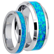 Matching  His & Hers Blue Hawaiian Inlay Tungsten Ring Set