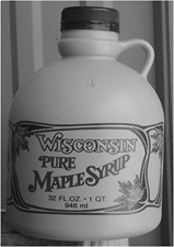 Bacon Brand Plastic Jugs - Wisconsin Classic Tan with Red Leaf - 1 Gallon (38 mm cover) - 24/case