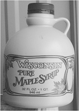 Bacon Brand Plastic Jug - Wisconsin - Cream color with Red Leaf - 16 oz   (38 mm cover) - 100/case